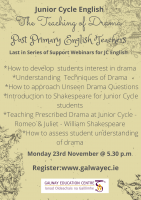 Junior Cycle English 3: The Teaching of Drama
