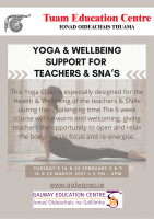 Yoga and Wellbeing Support for Teachers & SNA's:  Series of 6 Sessions - Book Here for Remaining Session: 23 March